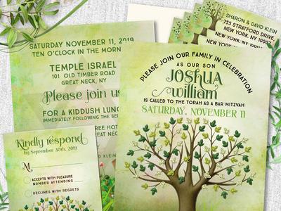 Tree of Life Bar Mitzvah Invitation Set