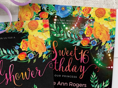 Flowers & Fairy Lights 5x7 Invitation bohemian colorful sweet 16 birthday bridal shower printed invitations invitation cards