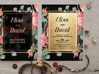 Wildflowers floral wedding invitation  goldblack1 mockup 1wm
