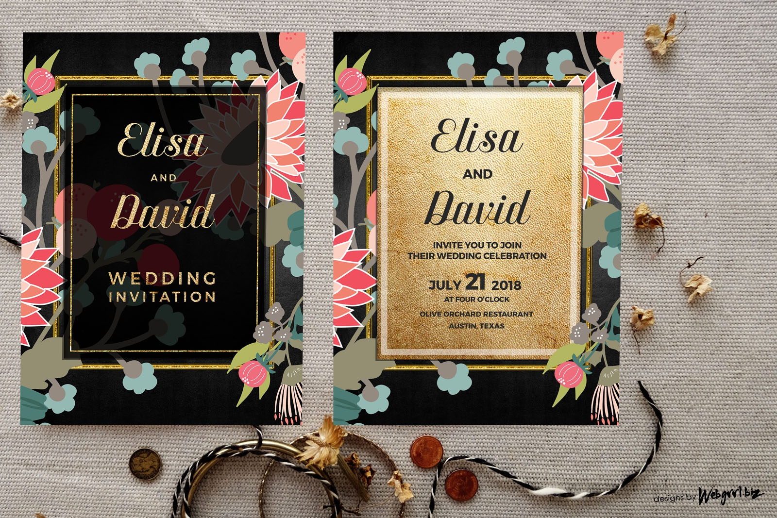 Wildflowers floral wedding invitation  goldblack1 mockup 1wm