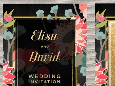 Wildflowers Floral Wedding Invitation Flat Card printed invitations wedding invitations
