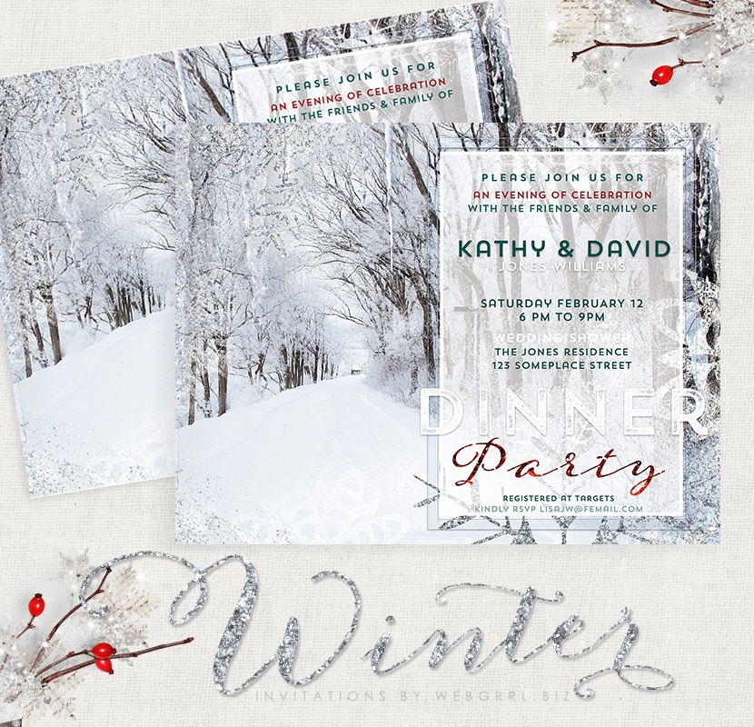 Winter landscape card mockup with ribbon 83x800