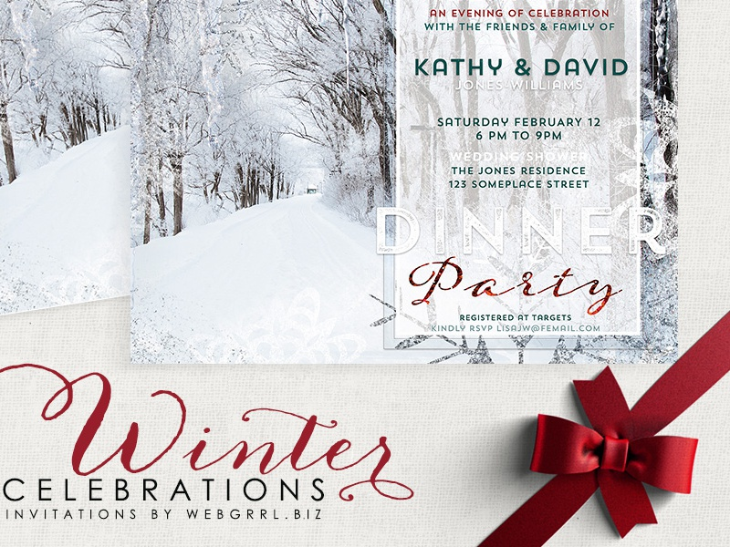Winter landscape card mockup with ribbon 850x800