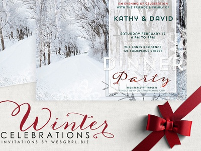 Winter Landscape Wedding Shower | Printed Invitations invitation cards winter