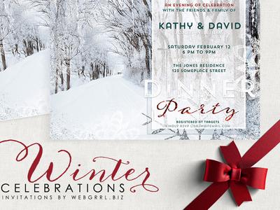 Winter Landscape Wedding Shower | Printed Invitations invitation cards winter