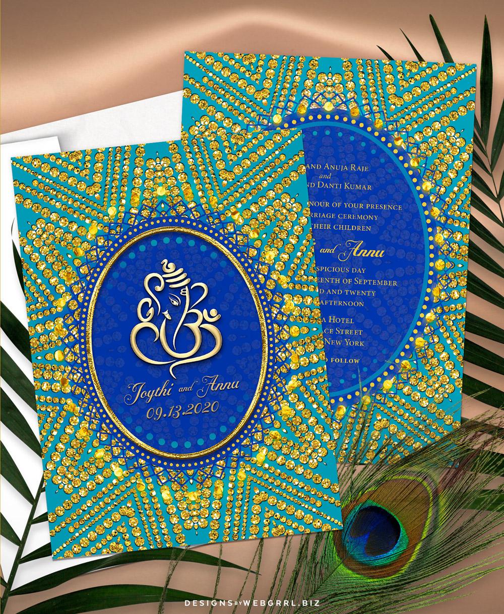 Tealgold sparkle ganesh indianwedding a7v mockup 1000w