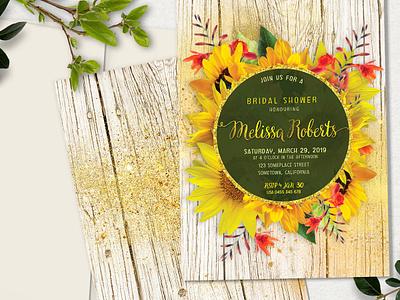 Sunflower Rustic Invitation rustic sunflower printed invitations print design