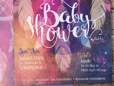 Baby Shower Dreamcatcher Hippie Invitation Cards printed invitations invitation cards baby shower