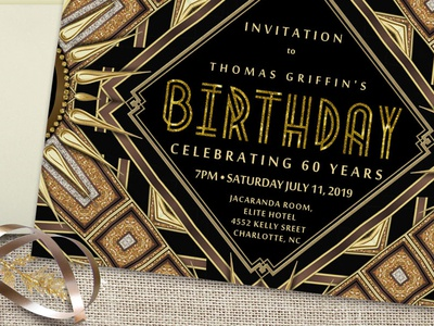 Art Deco Gold Black Birthday Invitation | A7 Flatcard invitation card a7 gold black digital glitter art deco