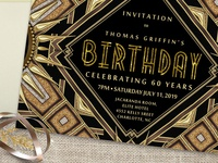 Art Deco Gold Black Birthday Invitation | A7 Flatcard