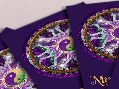 Purple Crystal Mandala • Business Card purple yin yang templates print design new age mandala business card