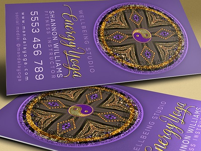 Purple Gold Mandala • Business Card templates print design graphic design purple new age mandala business cards