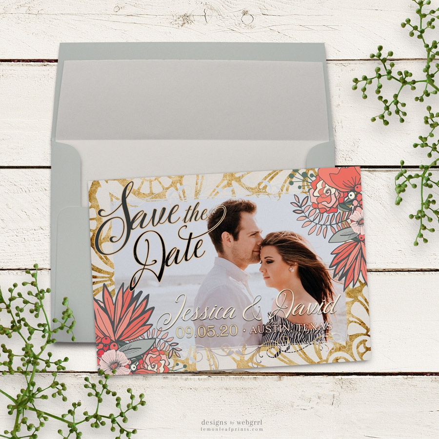Gold and coral floral save the date mu900