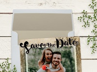 Rustic vintage save the date announcement card mu900