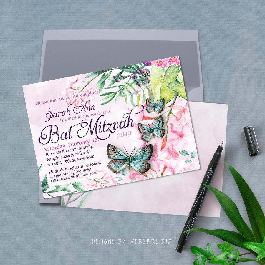 Butterflies batmitzvah a7l invitation mu900
