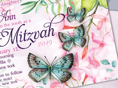 Butterflies Bat Mitzvah Invitation printed invitations invitation cards bat mitzvah