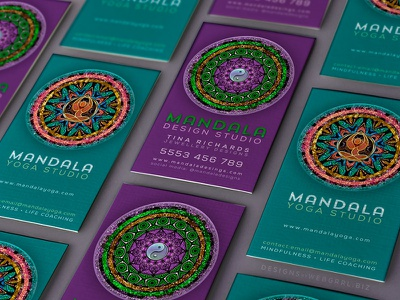 Mandala Series Business Cards symbols yoga new age print design business cards
