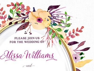 Watercolor Flowers Wedding Invitation invitation cards wedding invitation floral weddings print design printed invitations