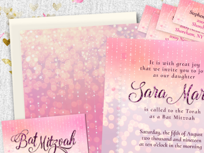 Pretty Sparkly Pink Bat Mitzvah Invitation Suite invitation design print design invitation cards lemonleafprints suite invitations bat mitzvah pink