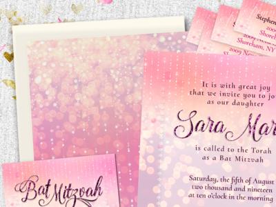 Pretty Sparkly Pink Bat Mitzvah Invitation Suite invitation design print design invitation cards lemonleafprints suite invitations bat mitzvah pink