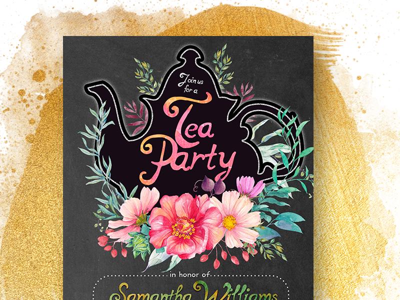 Floral Chalkboard Tea Party Invitation design floral invitation cards print design printed invitations inspiration