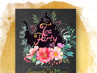 Floral Chalkboard Tea Party Invitation