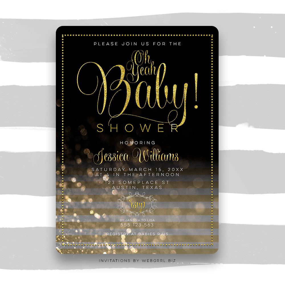 Ohbaby chalkboard gold stripes baby shower mu900