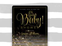Ohbaby chalkboard gold stripes baby shower mu900