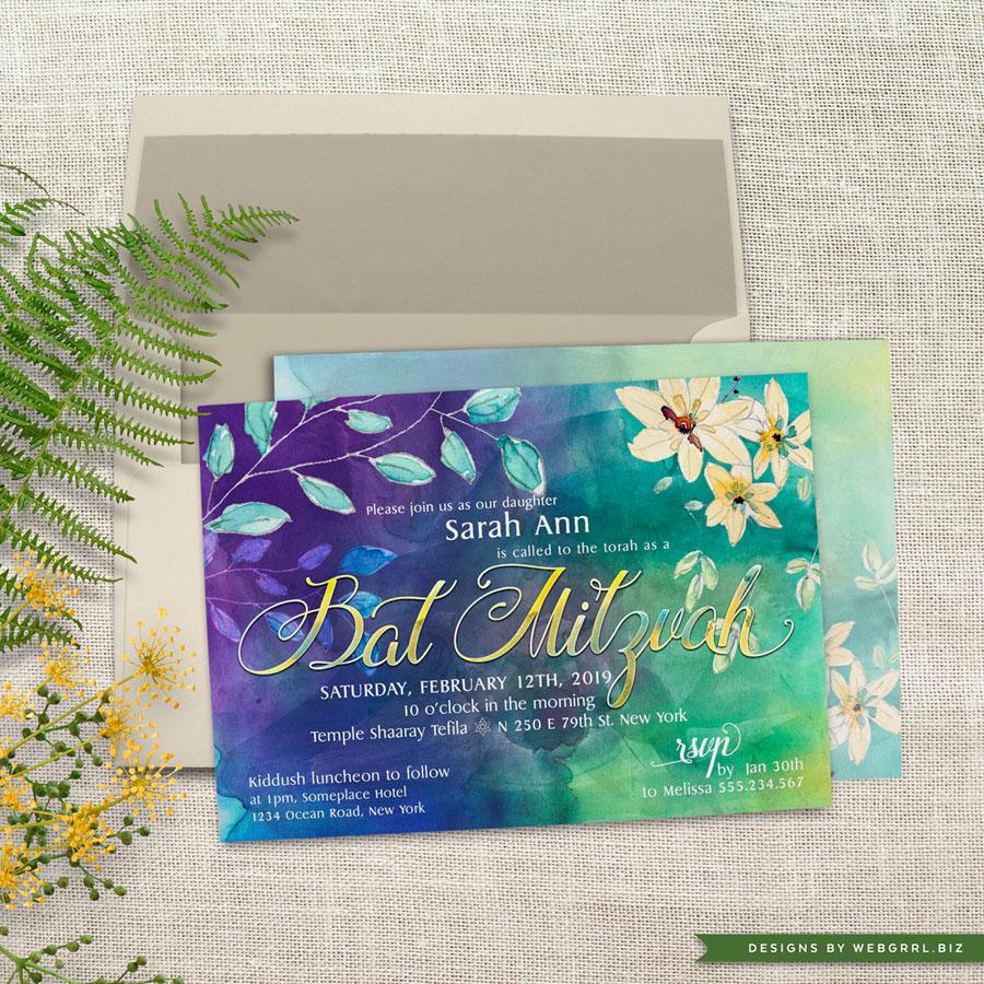 Floral watercolor batmitzvah a7 webgrrl llp mu900