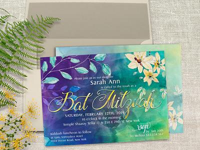 Floral Watercolor Bat Mitzvah A7 lemonleafprints invitation design graphic design printed invitations print design floral watercolor invitation cards bat mitzvah