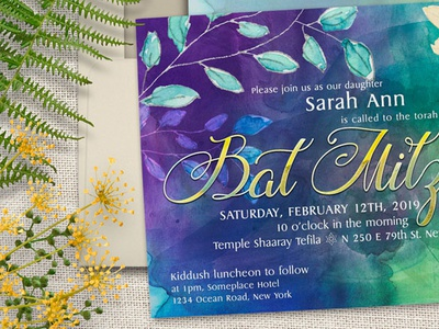 Floral Watercolor Bat Mitzvah A7 lemonleafprints invitation design graphic design printed invitations print design floral watercolor invitation cards bat mitzvah