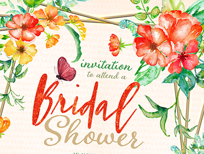 Tropical Floral Bridal Shower A7 Invitation bridal shower print design printed invitations invitation template template floral invitation card