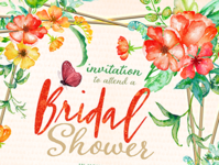 Tropical Floral Bridal Shower A7 Invitation