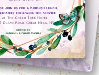 Green & Purple Watercolor Bat Mitzvah Invitation