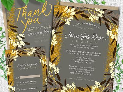 Modern Floral Bat Mitzvah Suite invitation suite bat mitzvah lemonleafprints invites invitation cards printed invitations invitations print design invitation design