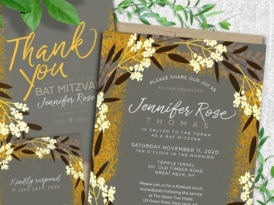 Modern Floral Bat Mitzvah Suite invitation suite bat mitzvah lemonleafprints invites invitation cards printed invitations invitations print design invitation design