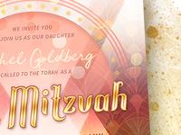 Modern Bat Mitzvah Invitation Card