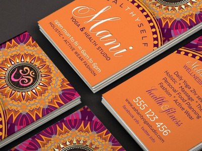 OM Mandala - Pink Orange Business Cards print design mandala business card template graphic design business card design business card