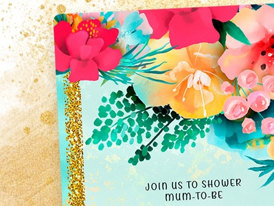 Colorful Flowers Baby Shower Invitation baby shower printed invitation print design