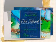 Vibrant Colors B' Mitzvah Invitations