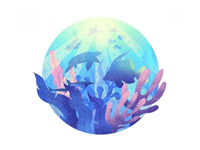 Ocean in Procreate illustration texture light seaweed water blue deep seal fish procreate sea ocean