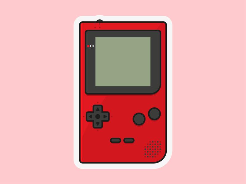 Gameboy Pocket Charm flat red gameboy pocket gameboy charms vector illustration
