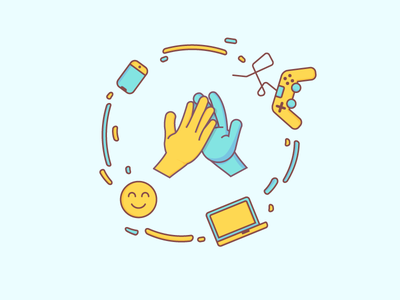 Highfive stickers flat illustration design vector