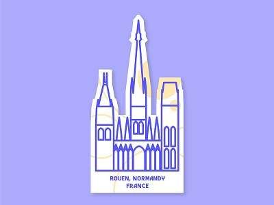 Cathedral #WeeklyWarmUp weeklywarmup cathedral normandy rouen lineart vector illustration flat