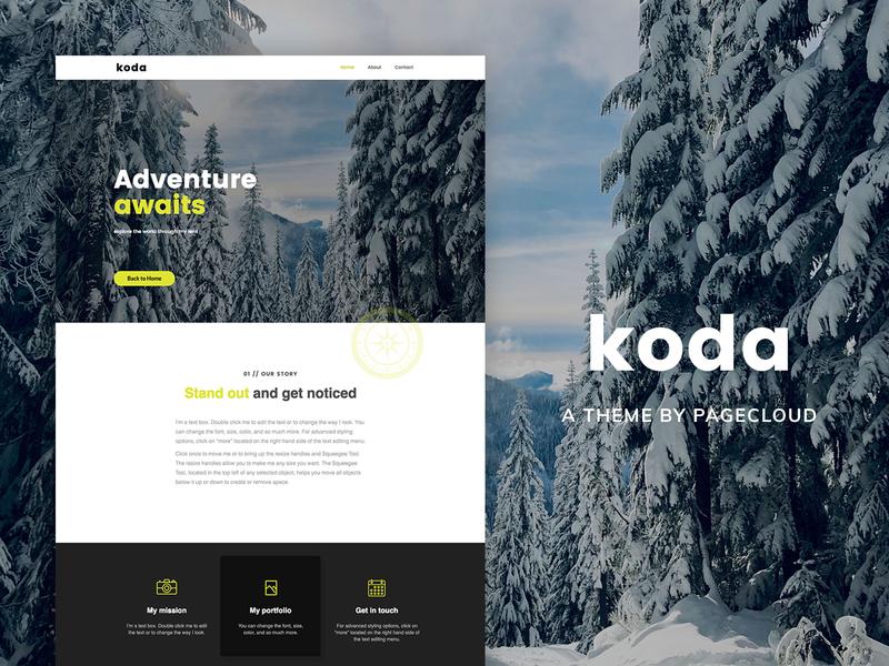 Koda PageCloud Template clean classic photography bold portfolio modern layout app template website website builder web design web pagecloud gallery design content