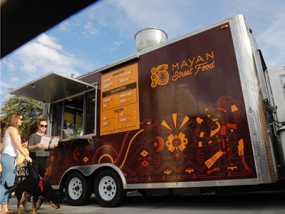 Mayan Cafe Food Truck truck wrap truck food truck food restaurant design branding kentucky louisville illustration brand identity