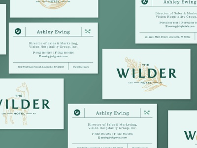 Wilder Hotel Business Cards branding agency brand identity logo hotel louisville kentucky illustration branding