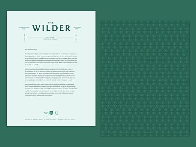 The Wilder Letterhead pattern a day pattern hotel logo hotel branding teal vintage design logo branding brand identity hotel letterhead template letterhead design letterhead