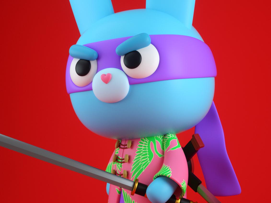 Conejo Ninja 3d modeling characterdesign render octane illustration cinema 4d 3d