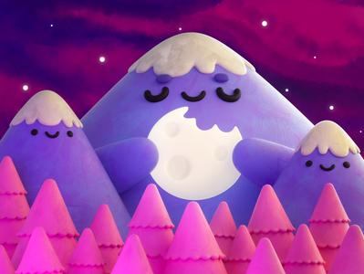 Hungry Mountain design 3d modeling render octane illustration cinema 4d characterdesign 3d